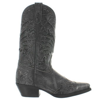 Laredo Stevie - Black Sequin Distressed Leather Snip Toe Cowboy Boot