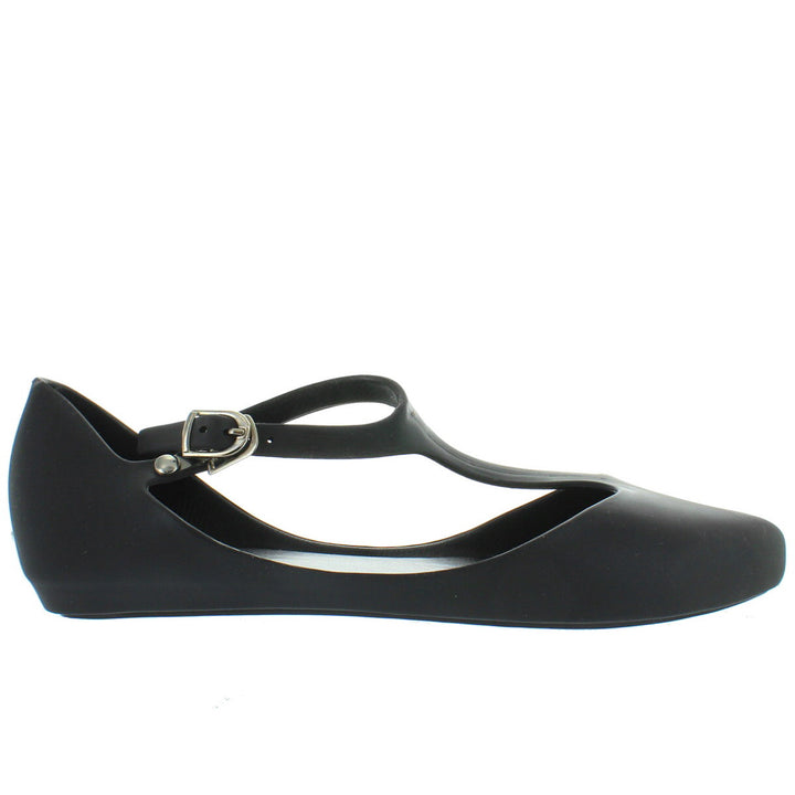 Makers Mint 1 - Black T-Strap Low Wedge Jelly