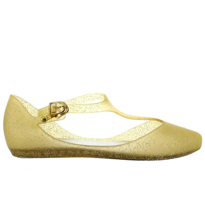Makers Mint 1 - Gold Glitter T-Strap Low Wedge Jelly