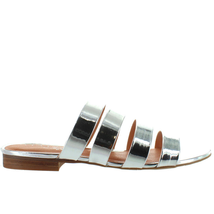 Coconuts Perry - Silver Strappy Flat Slide Sandal