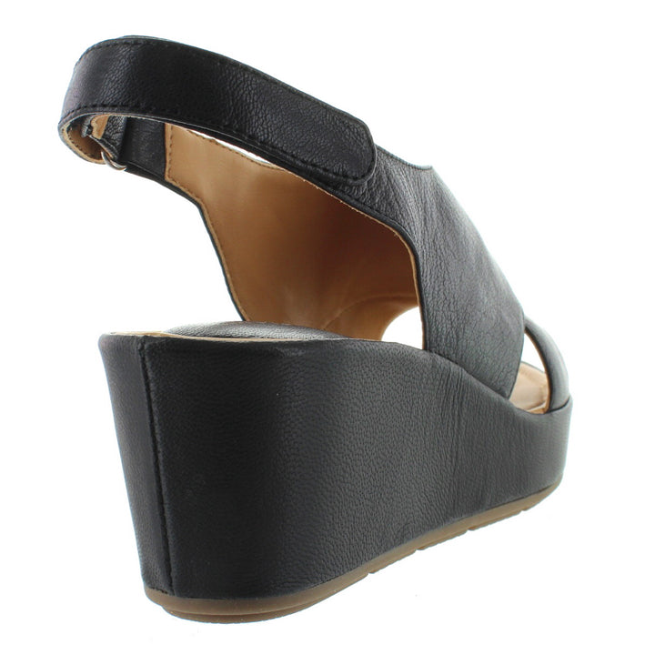 a3d5367a3c ... Me Too Arena - Black Leather Slingback Platform/Wedge Sandal ...