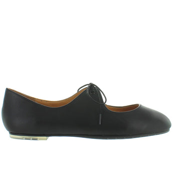 Me Too Cacey - Black Leather Teardrop Tie Ballet Flat