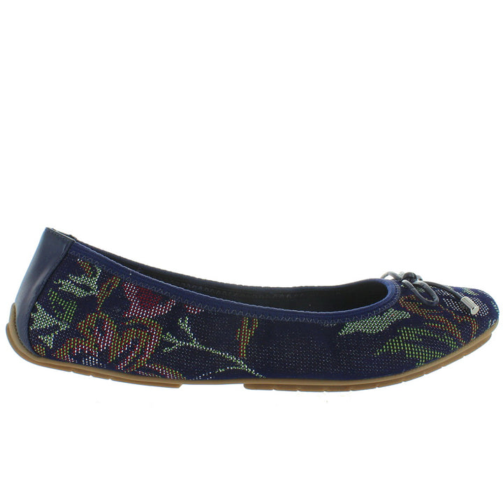 Me Too Halle - Dark Blue Denim Floral Ballet Flat