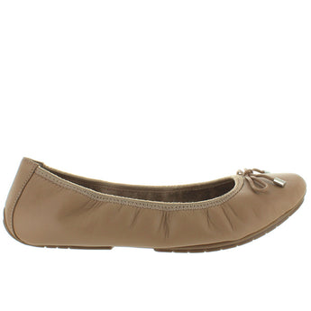 Me Too Halle - Driftwood Leather Bow Embellished Elasticized Ballet Flat