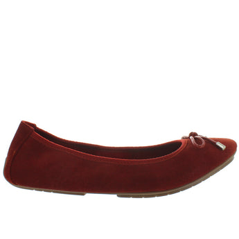 Me Too Halle - Rust Suede Bow Embellished Elasticized Ballet Flat