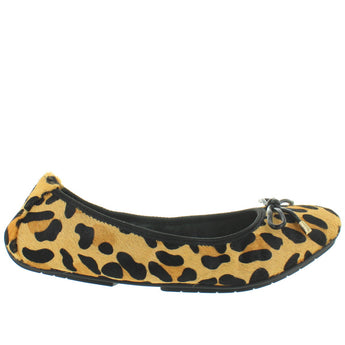 Me Too Halle - Tan Jaguar Print Bow Embellished Elasticized Ballet Flat