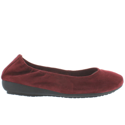 Me Too Janell - Dark Cranberry Suede Elasticized Low Wedge Ballet
