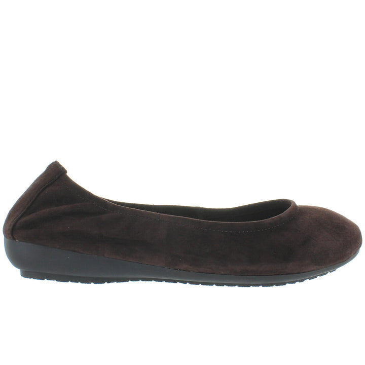 Me Too Janell - Chocolate Suede Elasticized Low Wedge Ballet