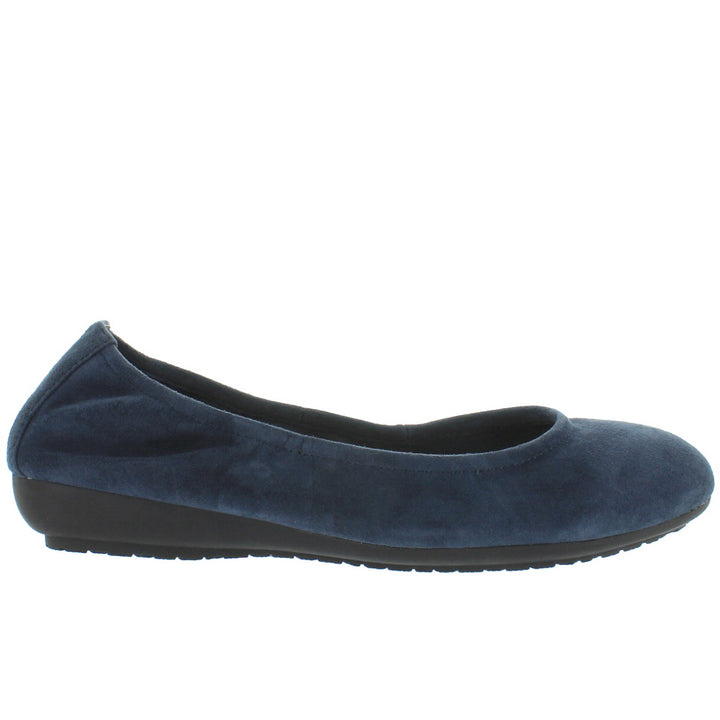 Me Too Janell - Navy Suede Elasticized Low Wedge Ballet
