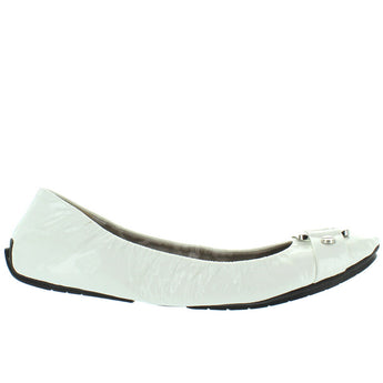 Me Too Lysette 2 - White Patent Silver Hardware Elasticized Ballet Flat