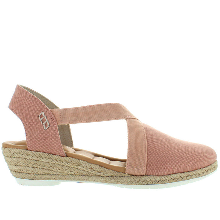 Me Too Nissa - Cipria Washed Canvas Wedge Espadrille Sandal