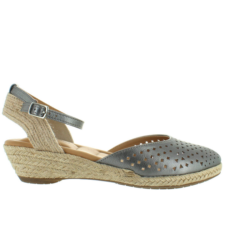 Me Too Norina - Pewter Leather Wedge Espadrille Sandal