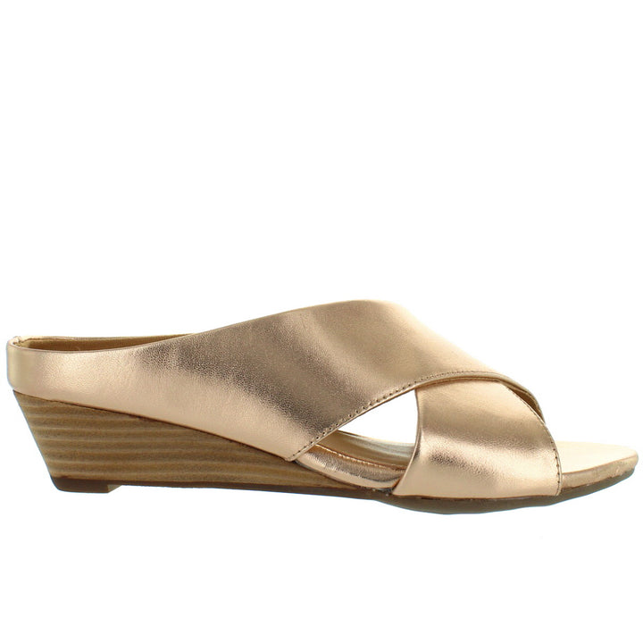 Me Too Sandi - Metallic Champagne Crisscross Wedge Slide Sandal