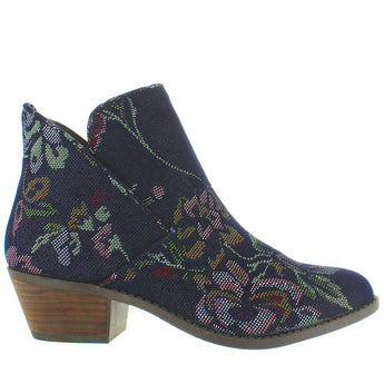 Me Too Zena - Dark Blue Denim Floral Pull-On Bootie