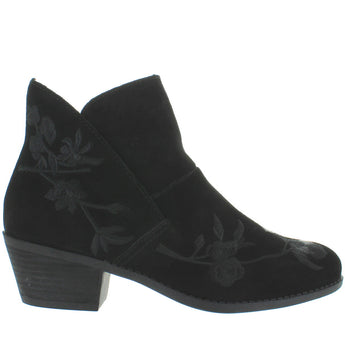 Me Too Zena - Black Suede Embroidered Floral Short Pull-On Western Bootie