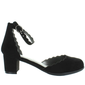 MIA Kids Amore - Girl's Black Nova Suede Scallop Edged Ankle Strap Pump