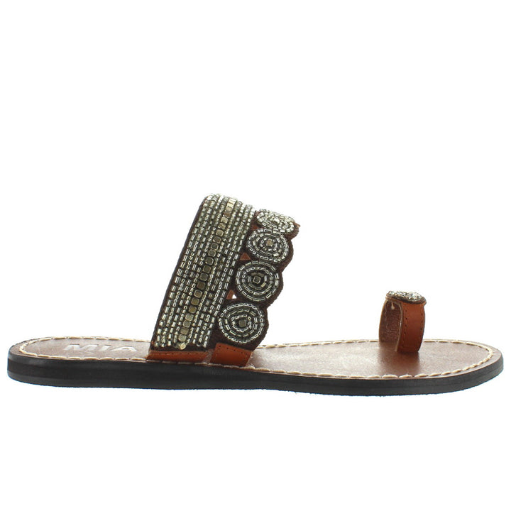 MIA Athens - Clear Multi Beaded/Brown Leather Flat Toe Loop Sandal
