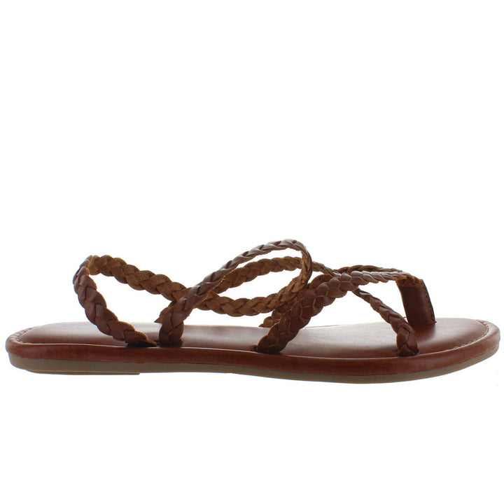MIA Braid - Brown Leather Strappy Flat Thong Sandal
