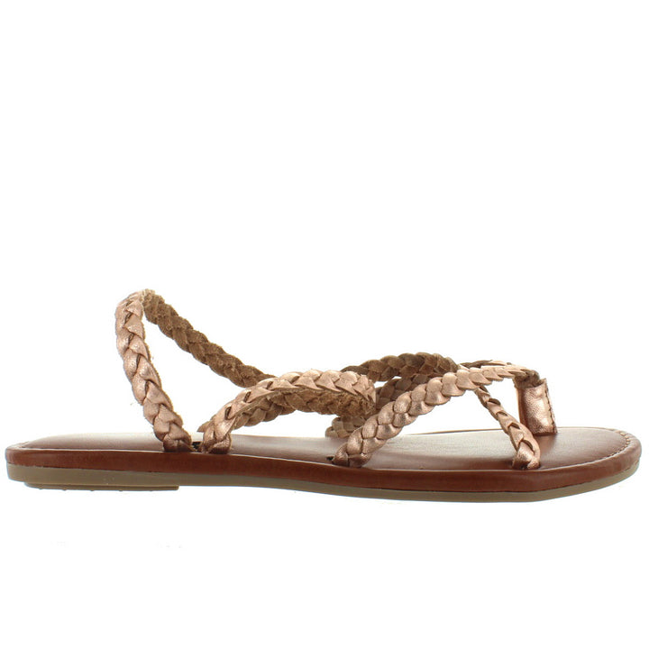 MIA Braid - Rose Gold Braided Leather Strappy Flat Thong Sandal