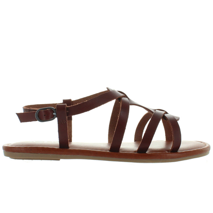 MIA Buttercup - Brown Leather Strappy Flat Sandal