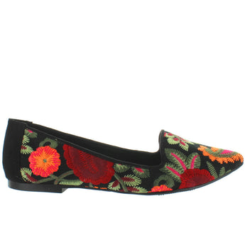 MIA Cadley - Black Flores Embroidered Fabric Skimmer
