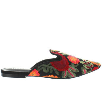 MIA Cameo - Black Flores Embroidered Fabric Flat Mule