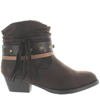 MIA Kids Cowgirl - Girl's Brown Side Fringe Hardware Embellished Short Western Bootie