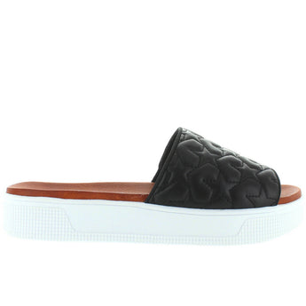 MIA Journee- Black Star Rubber Platform Footbed Slide Sandal