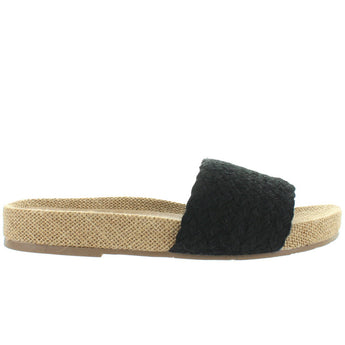 MIA Linara - Black Jute Footbed Slide Sandal