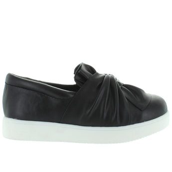 MIA Kids Maddie - Girl's Black Nappa Knotted Slip-On Sneaker