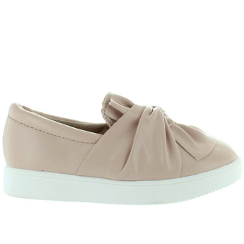 MIA Kids Maddie - Girl's Blush Nappa Knotted Slip-On Sneaker