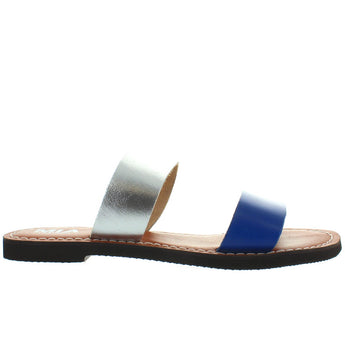 MIA Nila - Navy/Silver Leather Dual Band Flat Slide Sandal