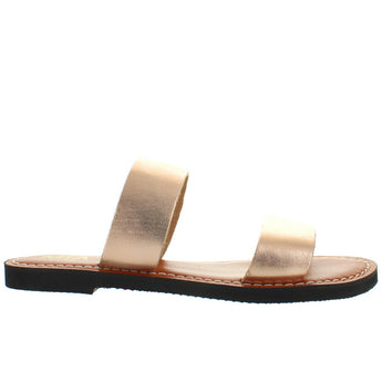 MIA Nila - Rose Gold Leather Dual Band Flat Slide Sandal