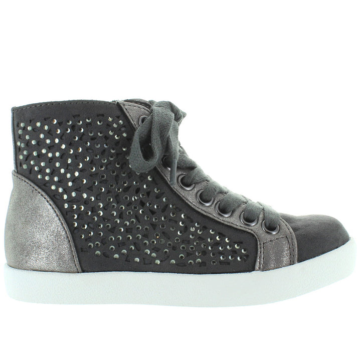 MIA Kids Playground - Girl's Grey Nova Suede/Silver Metallic Bling/Laser Cut High Top Sneaker