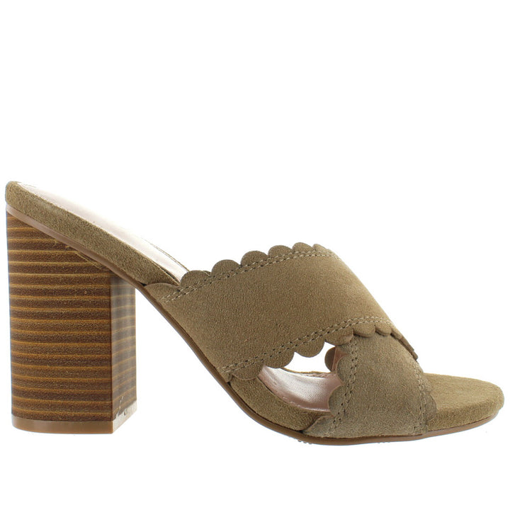 MIA Rosalyn - Natural Suede Crisscross Slide Sandal