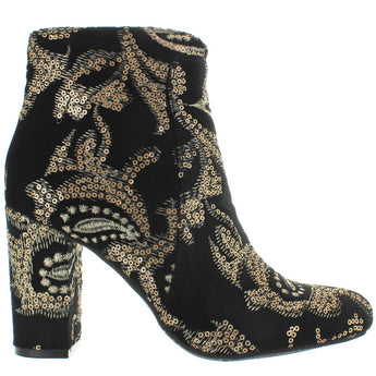 MIA Rosebud - Black/Gold Brocade Embroidered Fabric Heel Bootie