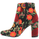 MIA Rosebud - Black Flores Embroidered Fabric Heel Bootie