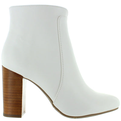 MIA Rosebud - White Soft Nappa Leather Heel Bootie