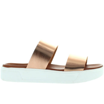 MIA Saige - Rose Gold Dual Band Platform Slide Sandal