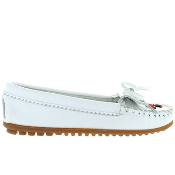 Minnetonka Thunderbird II - White Leather Beaded Moccasin