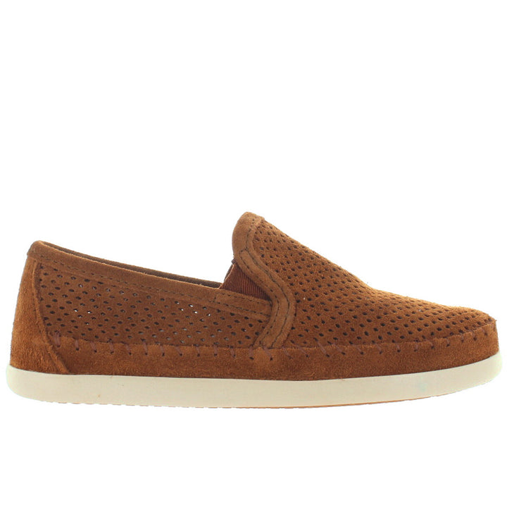 Minnetonka Pacific - Brown Perforated Suede Slip-On Moc Loafer