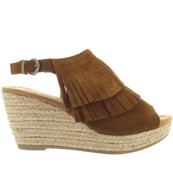 Minnetonka Ashley - Dusty Brown Suede Double Front Fringe Espadrille Platform/Wedge Sandal