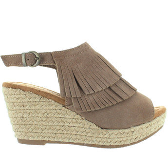 Minnetonka Ashley - Taupe Suede Double Front Fringe Espadrille Platform/Wedge Sandal