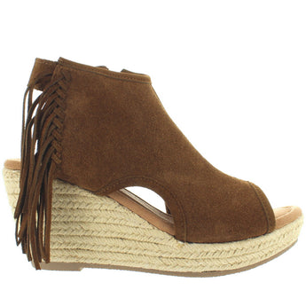 Minnetonka Blaire - Dusty Brown Suede Side Fringe Espadrille Platform/Wedge Sandal