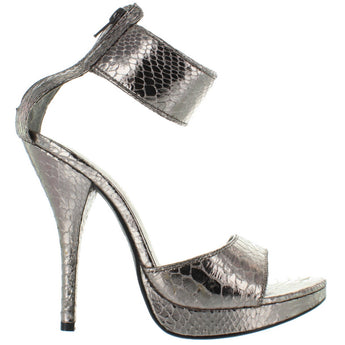 More- Pewter Snake Embossed Ankle Cuff Stiletto Sandal