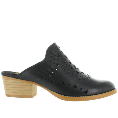 Musse & Cloud Nanette - Black Leather Laser-Cut Western Mule