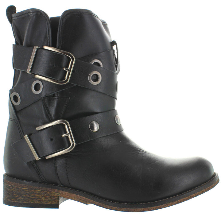 Musse & Cloud Adriana - Black Leather Dual Buckle Hardware Strap Engineer Boot