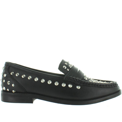 Musse & Cloud Allen - Black Leather Studded Penny Loafer