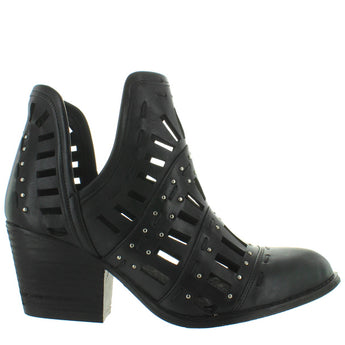 Musse & Cloud Arcadia - Black Leather Laser-Cut Studded Western Bootie
