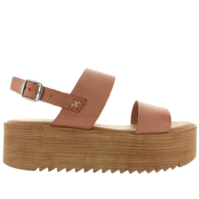 Musse & Cloud Isadora - Natural Leather Dual Band High Platform Sandal